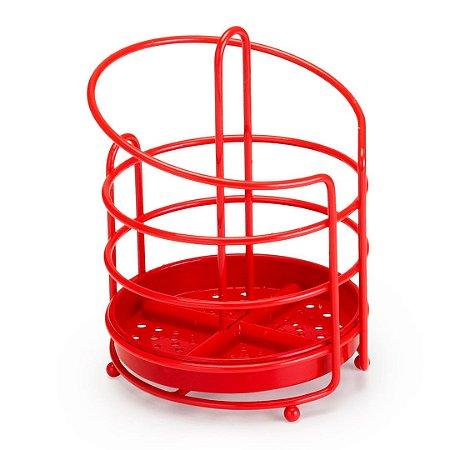 Porta Talheres Vermelho em Aço Linha Red - Arthi