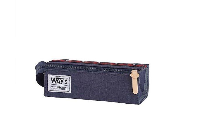 Estojo Escolar Way's Quadrado Dobrável Azul Marinho - Fuseco