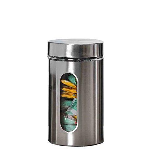 Pote Porta Mantimentos Alimentos Vidro Inox C/Visor 900 ml