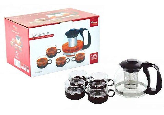 Chaleira de vidro 1,2 litros com Infusor de Chá e 4 Xícaras - Wincy