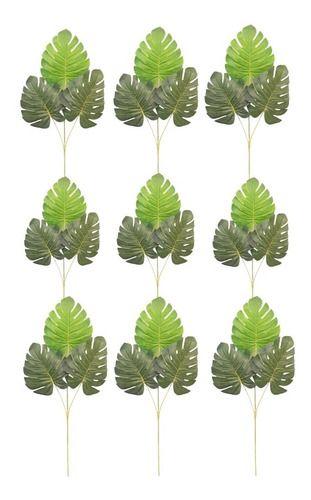 Kit Com 10 Folhas Verde Costela De Adão Artificial 56 Cm