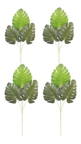 Kit Com 4 Folhas Verde Costela De Adão Artificial 56 Cm
