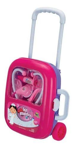 Maleta Kit Médica Com Rodinha Girl Infantil Acessórios