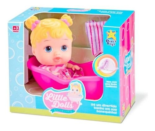 Boneca Bebê Baby Little Dolls Banheirinha - Divertoys