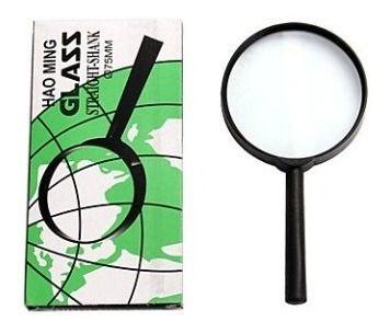 Jogo Com 5 Lupa Glass 75mm Lente De Aumento Zoom Cabo Plástico Manual