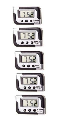 Kit 5 Relógio Digital Portátil Carro Cronômetro Data Alarme