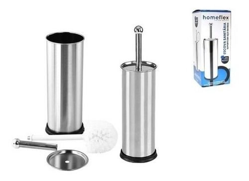 Escova Sanitária Suporte Aço Inox Resistente Home Flex