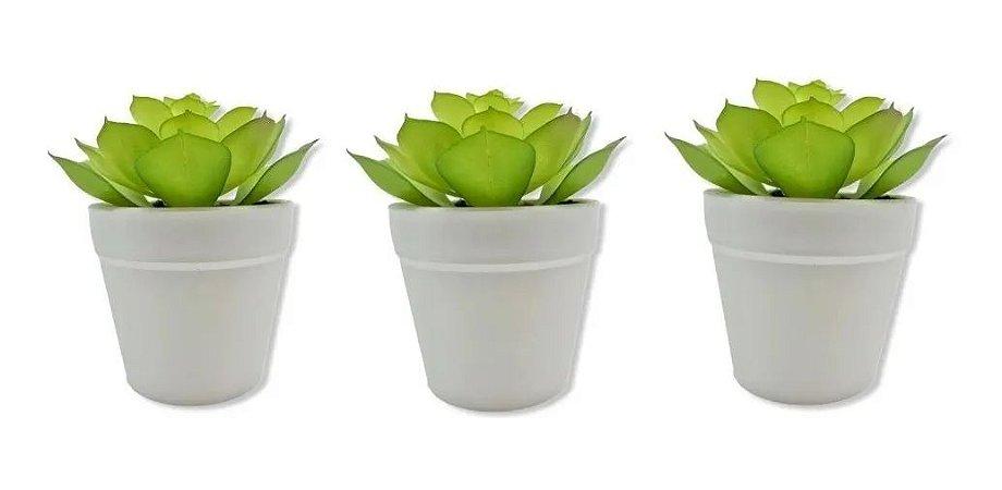 Jogo Com 3 Vasos Branco Com Suculenta Artificial Ornamental Decoração