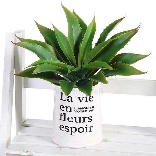 Kit Com 2 Plantas Galho Ornamental Artificial Babosa Aloe 30 Cm Decoração