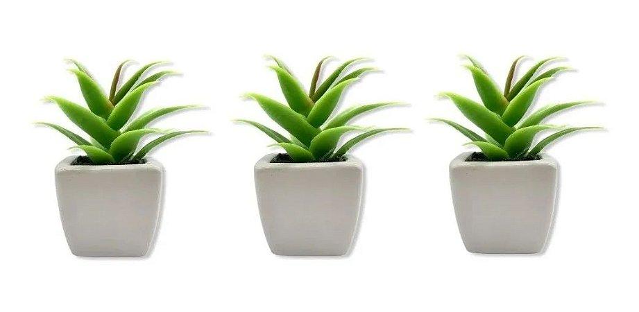 Jogo Com 3 Mini Vasos Porcelana Planta Artificial Suculenta Decoração
