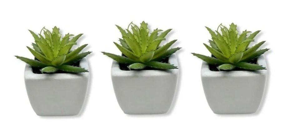 Jogo Com 3 Vasos De Porcelana Planta Suculenta Artificial Decoração