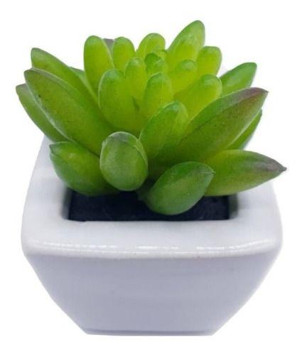 Jogo Com 3 Mini Vasos Planta Suculenta Artificial 10x5 Cm Decoração