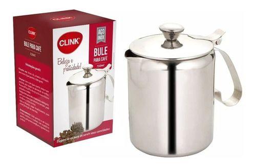 Bule Para Café E Leite, Em Aço Inox 600ml Clink Luxo
