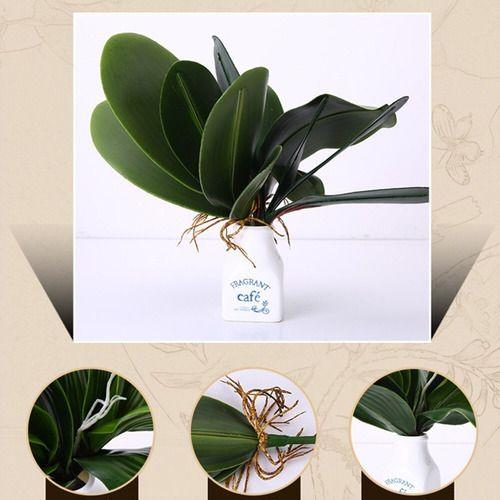 Kit Com 4 Galhos De Folha De Orquídea Artificial 23 Cm