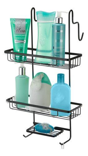 Porta Shampoo Duplo Para Box Arthi Linha Black