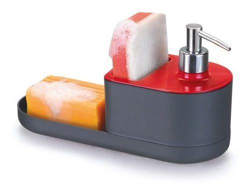 Dispenser Para Detergente Porta Esponja E Sabão Cor Vermelho