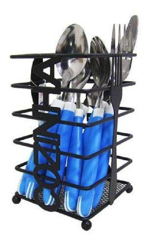 Porta Talher Escorredor Aramado Quadrado Cozinha Preto Metal