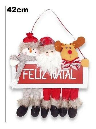 Placa Decorativa Madeira Pendente P/ Porta Enfeite De Natal