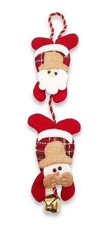 Enfeite Pendente De Porta Natal Papai Noel Xadrez Com Guizo