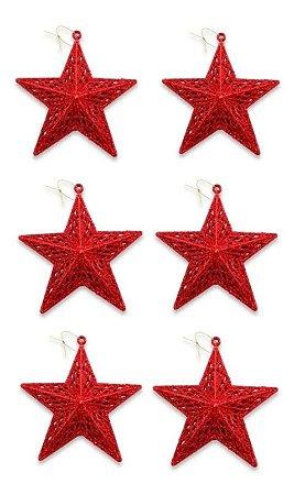 Kit 6 Estrelas Glitter Pendente Enfeite P/ Árvore De Natal