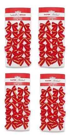 Kit Com 48 Laços Vermelhos Enfeite De Árvore De Natal 6,5cm