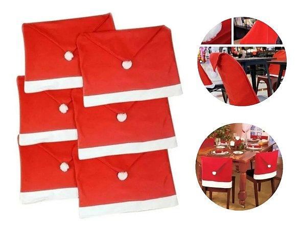 Kit 6 Capas Vermelha Para Cadeira Natal Veludo Papai Noel