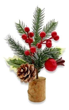 Enfeite De Mesa Decoração De Natal Flor Arranjo De Madeira