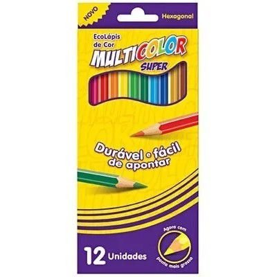 Lápis Cor 12 Cores Longo Multicolor Super Eco Lápis