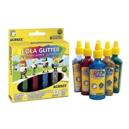 Cola Glitter com 6 Cores Acrilex 23g