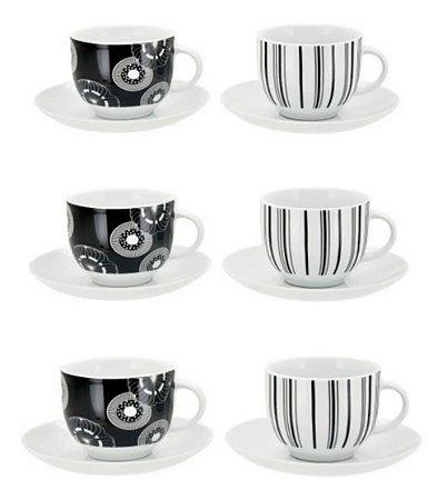 Jogo De Xícaras Chá Porcelana Preto E Branco 200 Ml 12 Peças