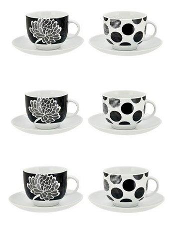 Jogo De Xícaras Chá Porcelana Cinza E Preto Com Flor 200 Ml 12 Peças