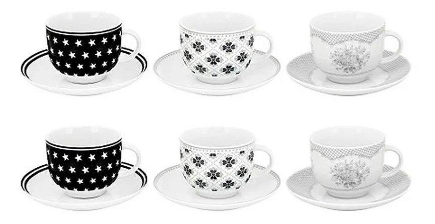 Jogo De Xícaras Café Porcelana Flores Luxo 90 Ml 12 Peças