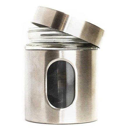Pote De Vidro Inox Tampa Rosca Condimento Hauskraft 600 Ml