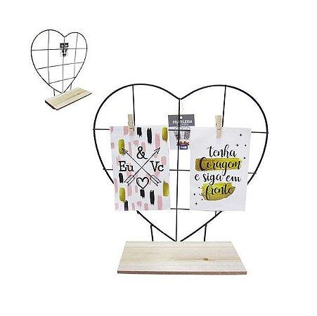 Prateleira Decorativa Coração Madeira Metal Aramada 30 X 29 Cm