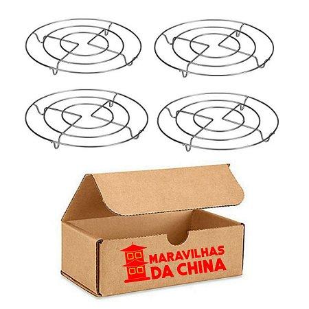 Kit 4 Descanso Panela 20 Cm Redondo Metal Cromado Cozinha