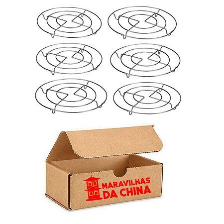 Kit 6 Descanso Panela 20 Cm Redondo Metal Cromado Cozinha