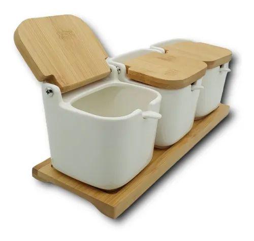 Porta Condimentos Porcelana Com Colher 3 Peças Hauskraft Com Tampa e Bandeja de Bambu