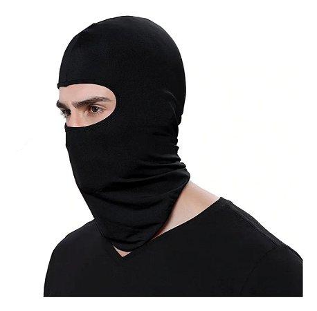 Touca Gorro Preta De Cotton Estica Ninja Motoqueiro Frio