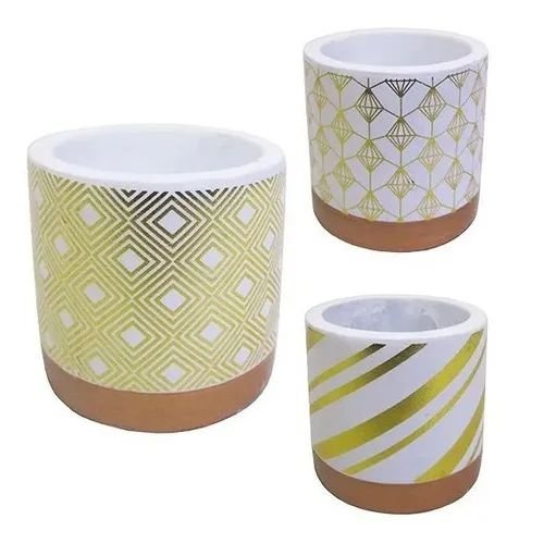 Kit 3 Mini Vaso Dourado Decorativos Enfeite De Mesa Cerâmica