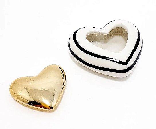 Mini Coração Enfeite De Cerâmica Decorativo Porcelana Dourado