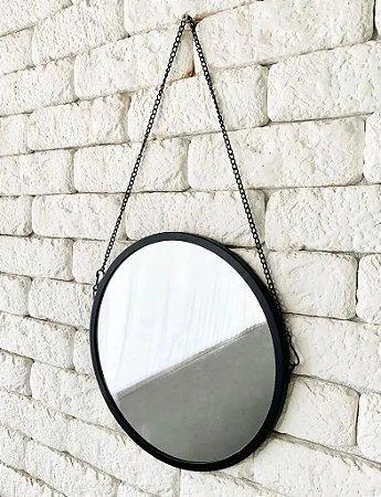 Espelho Decorativo 24cm Redondo Preto De Metal Alça Corrente
