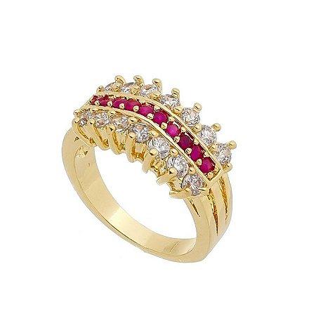 Anel Semi Joia Pedras de Zircônias Branca e  Pedras Pink - Nº17