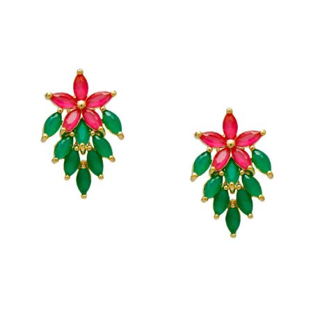 Brinco semi Joia Cacho Pedras Cristais Verde esmeralda e pink