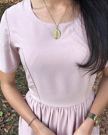 Vestido Midi Rosé Franzido