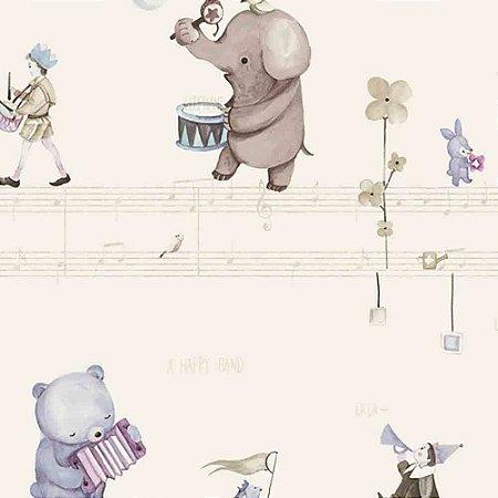 Papel de Parede Infantil Animais tocando Música Hello Kids HK224301R