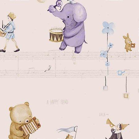 Papel de Parede Infantil Animais tocando Música Hello Kids HK224302R