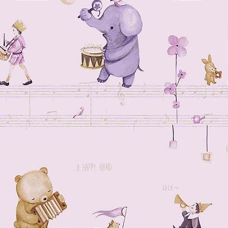 Papel de Parede Infantil Animais tocando Música Hello Kids HK224305R