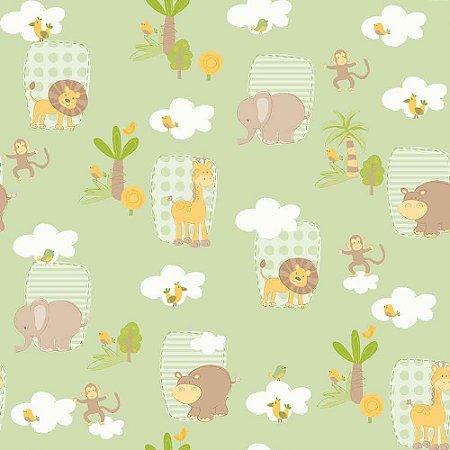 Papel de Parede Infantil Bambinos Animais Safari Verde 3303