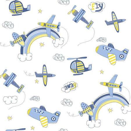 Papel de Parede Infantil Bambinos Avião e Helicóptero Azul 3306