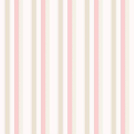 Papel de Parede Infantil Bambinos Listrado Rosa, Branco e Bege 3338